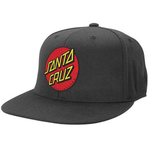 Santa Cruz Skateboard Hat: Dot Fitted Black Hats- Edge Boardshop