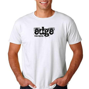 EDGE T Shirt: EDGE Grunge Logo White T Shirts- Edge Boardshop