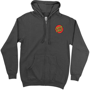 Santa Cruz Sweatshirt: Classic Dot ZIP Hoody Black Sweatshirts- Edge Boardshop