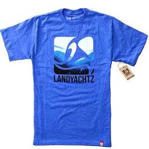 Landyachtz T Shirt: Blue Mountains Blue T Shirts- Edge Boardshop