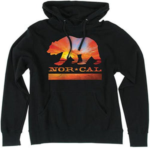 Nor Cal Sweatshirt: Nor Cal Sunset Bear Hoodie Black Sweatshirts- Edge Boardshop