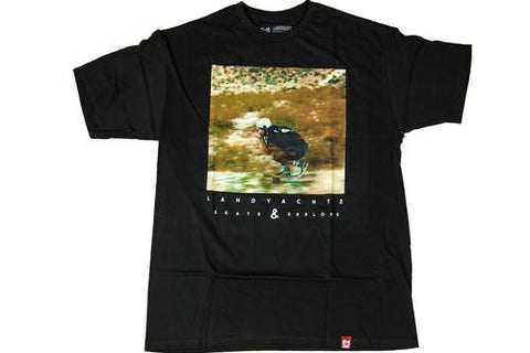Landyachtz T shirt: Skate and Explore Black T Shirts- Edge Boardshop