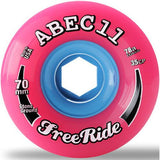 ABEC11 Longboard Wheels: Freeride 70mm 78a Pink Stone Ground Wheels- Edge Boardshop