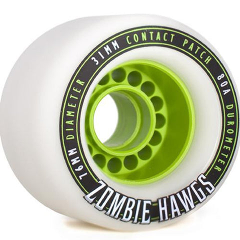 Hawgs Longboard Wheels:  Zombie 76mm 80a White Wheels- Edge Boardshop