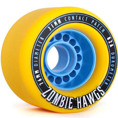 Hawgs Longboard Wheels:  Zombie 76mm 82a Yellow Wheels- Edge Boardshop