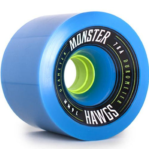 Hawgs Longboard Wheels:  Monster 76mm 78a Blue Wheels- Edge Boardshop