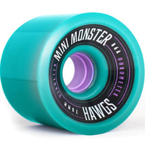 Hawgs Longboard Wheels:  Mini Monsters 70mm 86a Teal Wheels- Edge Boardshop