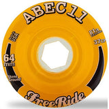 ABEC11 Longboard Wheels: Freerides Offset 64mm 81a Amber Wheels- Edge Boardshop