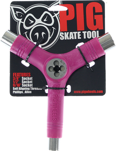 PIG WHEELS SKATE TOOL-NEON PINK tri-socket/threader