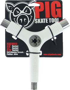 PIG WHEELS SKATE TOOL-WHITE tri-socket/threader