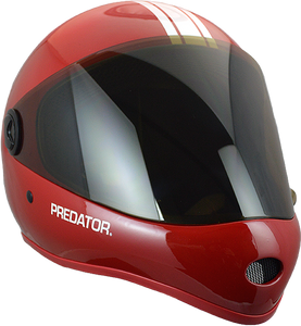 PREDATOR DH6 HELMET MATTE RED W/WHT STRIPES
