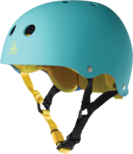 TRIPLE 8 HELMET TEAL RUBBER/YEL L