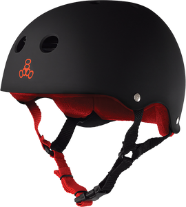 TRIPLE 8 HELMET BLK RUBBER/RED M