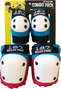 187 Killer Pads COMBO PACK KNEE/ELBOW PAD SET XS-RED/WHT/BLU