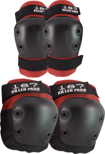 187 COMBO PACK KNEE/ELBOW PAD SET L/XL-RED/BLK