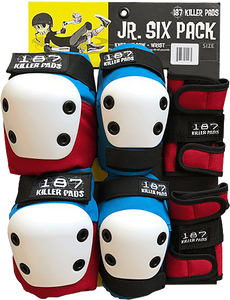 187 Killer Pads 6-PACK JUNIOR PAD SET RED/WHT/BLU W/WHT