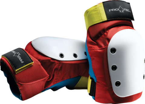 PROTEC STREET KNEE YTH-RETRO(RED/BLUE/YEL)