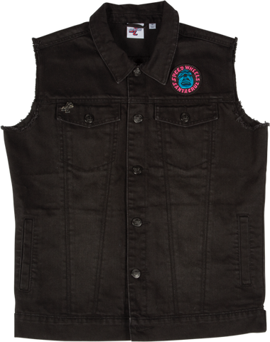 SANTA CRUZ PATCHED BUTTON UP VEST L-BLACK