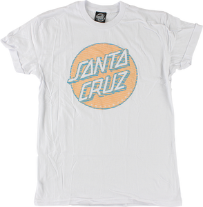 SANTA CRUZ LINED DOT GIRLS SS L-WHITE