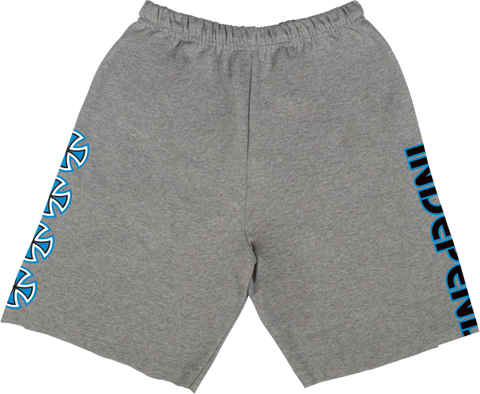 INDEPENDENT CHOP BAR SWEAT SHORTS S-GREY HTHR/BLU