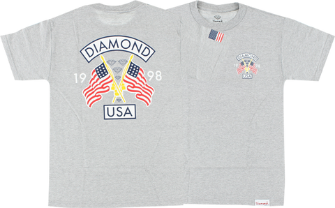 DIAMOND DIAMOND USA SS S-HEATHER GREY