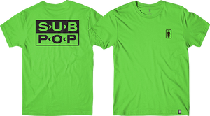GIRL X SUB POP LOGO SS M-GREEN/BLK