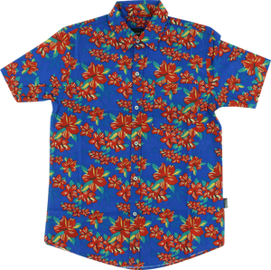 GRIZZLY TROPICAL HIGH BUTTON UP SS M-BLUE