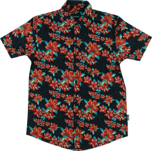 GRIZZLY TROPICAL HIGH BUTTON UP SS L-BLACK