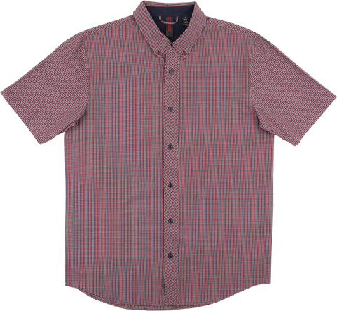 INDE TIDY BUTTON UP SS S-NAVY/BURGUNDY CHECK