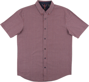 INDE TIDY BUTTON UP SS M-NAVY/BURGUNDY CHECK