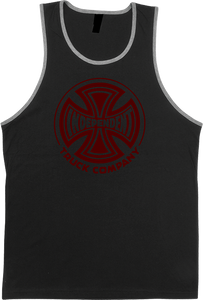 INDE FADE CROSS TANK-TOP S-BLACK HEATHER
