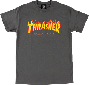 THRASHER FLAME SS L-CHARCOAL/YEL & RED
