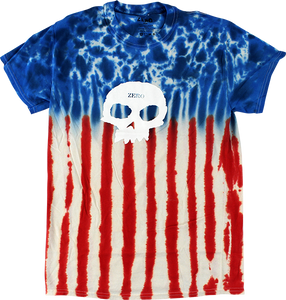 ZERO AMERICANA SINGLE SKULL S-WHT/BLU/RED TIE DYE