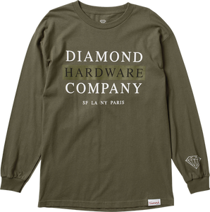 DIAMOND SUPPLY CO. HARDWARE STACK L/S XL-MILITARY GRN