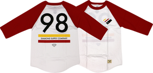 DIAMOND 98 SUPPLY RAGLAN 3/4 SLV XXL-RED/WHT