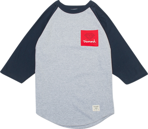 DIAMOND OG SIGN RAGLAN 3/4 SLV XXL-HTHR/NAVY