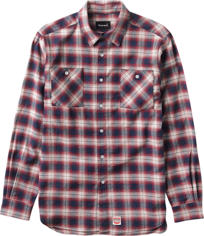 DIAMOND OMBRE FLANNEL L/S BUTTONUP S-RED