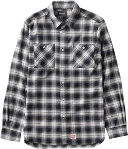 DIAMOND OMBRE FLANNEL L/S BUTTONUP L-BLACK