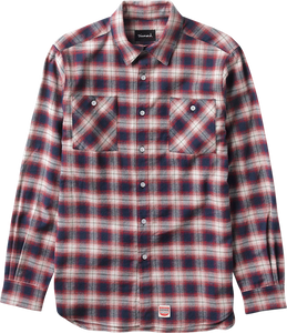 DIAMOND OMBRE FLANNEL L/S BUTTONUP L-RED