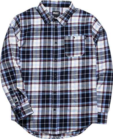 GRIZZLY ESTABLISHED BUTTON-UP LS M-BLUE PLAID