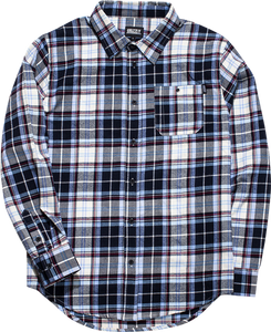 GRIZZLY ESTABLISHED BUTTON-UP LS XL-BLUE PLAID