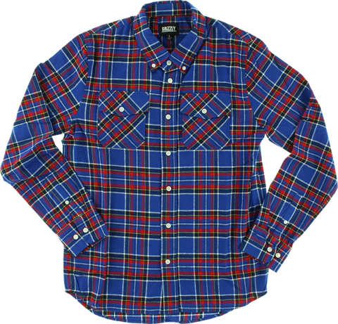 GRIZZLY TUNDRA BUTTON-UP LS XL-BLUE PLAID
