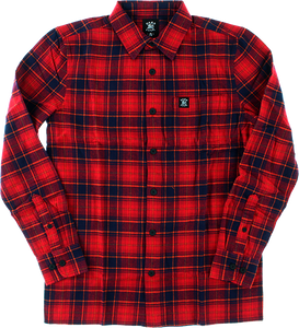 HARD LUCK MALIBU L/S FLANNEL S-RED/BLK