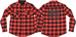 INDEPENDENT PRODUCTION L/S BUTTON UP S-RED PLAID