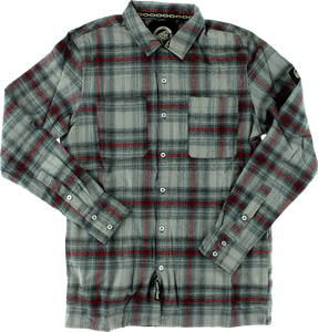 SC CLIFF BUTTON UP L/S M-BLK/RED/GREY PLAID