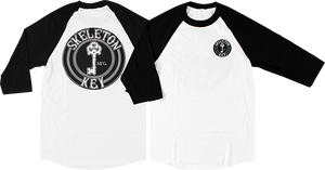 SKELETON KEY BLACK DOT RAGLAN 3/4 SLV XL-WHT/BLK