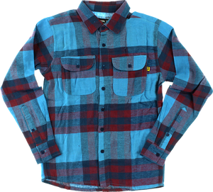 VOL4 JINX L/S FLANNEL L-BLU/OXBLOOD button-up