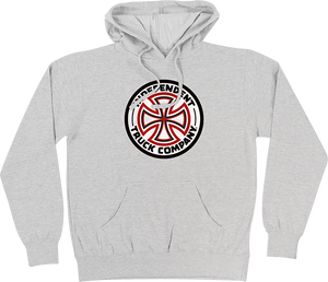 INDEPENDENT RED/WHITE CROSS HD/SWT L-ATHLETIC HEATHER