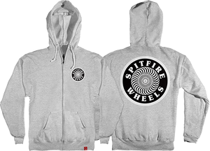 SPITFIRE OG CIRCLE PATCH ZIP HD/SWT L-HEATHER GREY/BLK
