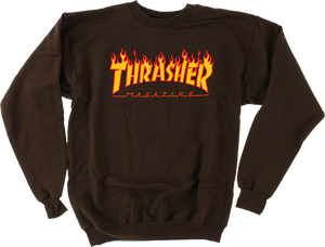 THRASHER FLAME LOGO CREW/SWT L-BROWN